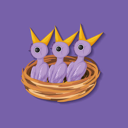 Purple chick cartoon character illustration