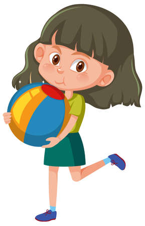 Girl holding beach ball cartoon character isolated on white background illustration