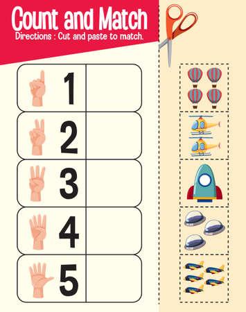 Count and match game, maths worksheet for children illustration Vektorové ilustrace