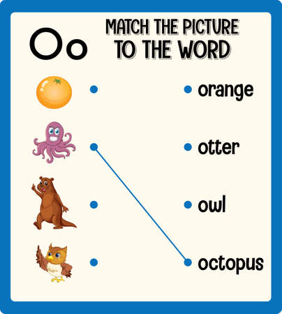 Match the picture to the word worksheet for children illustration