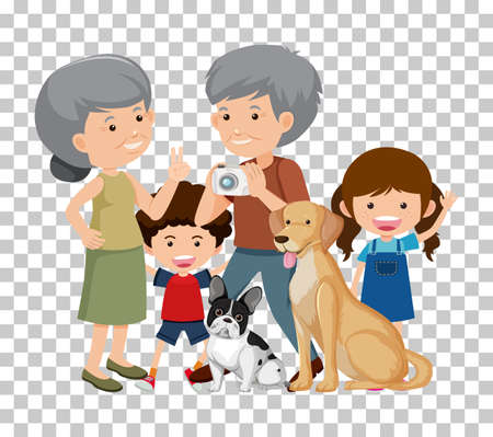 Old couple and grandchild with their pet dogs isolated on transparent background illustration