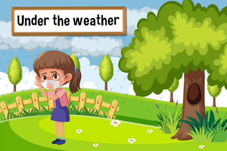 English idiom with picture description for under the weather illustration