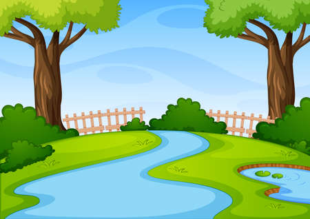 Empty park scene with many trees and river at day time illustration