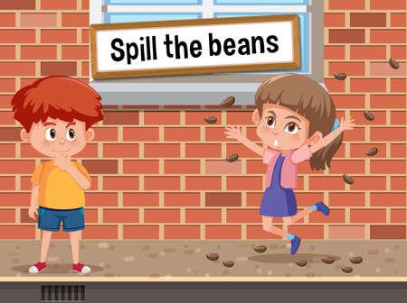 English idiom with picture description for spill the beans illustration 向量圖像