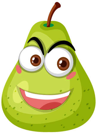 Green pear cartoon character with happy face expression on white background illustration Vetores