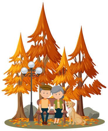 Isolated scene with an old couple at the park illustration