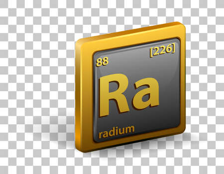 Radium chemical element. Chemical symbol with atomic number and atomic mass. illustration