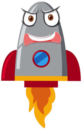 Rocketship cartoon with angry face on white background illustration