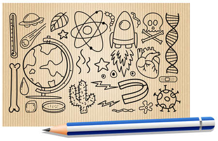 Different doodle strokes about science equipment on a paper illustration