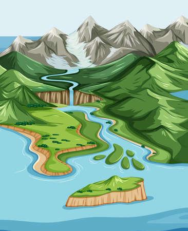 Bird's eye view with nature park landscape scene illustration