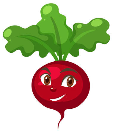 Radish cartoon character with happy face expression on white background illustration