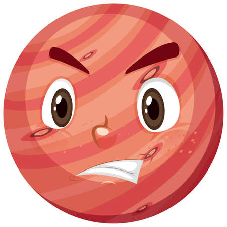 Mars cartoon character with angry face expression on white background illustration Vecteurs