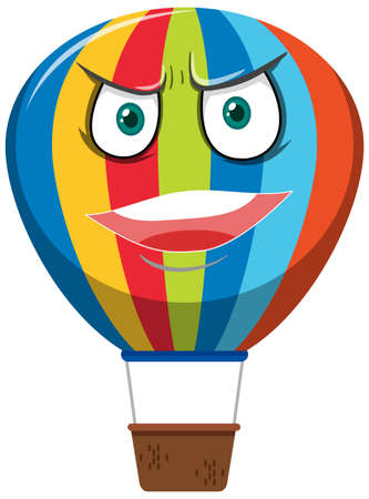 Hot air balloon cartoon character with angry face expression on white background illustration