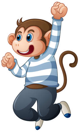A cute monkey wearing t-shirt cartoon character isolated on white background illustration