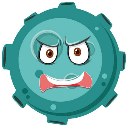 Asteroid cartoon character with angry face expression on white background illustration