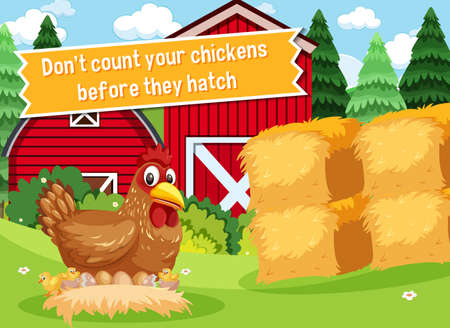 Idiom poster with Don't count your chickens before they hatch illustration