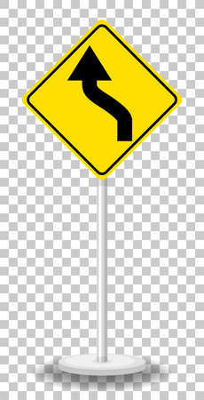 Yellow traffic warning sign on transparent background illustration