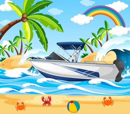 Beach scene with a speed boat illustration