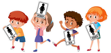 Set of different kid holding toilet sign isolated on white background illustration