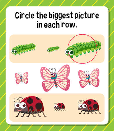 Circle the biggest picture in each row worksheet for children illustration
