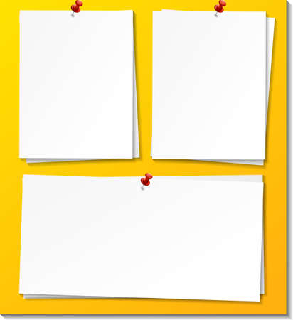 Set of paper note with push pin illustration
