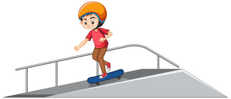 Boy wearing helmet playing skatboard on the ramp on white background illustration