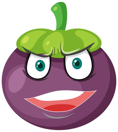 Mangosteen cartoon character with angry face expression on white background illustration Vecteurs