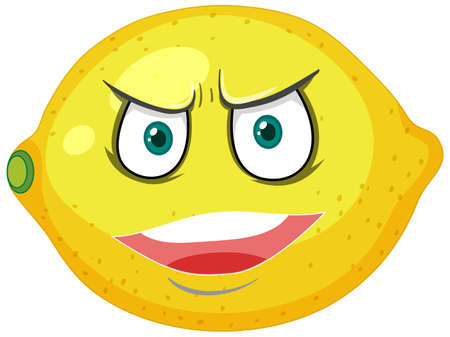 Lemon cartoon character with angry face expression on white background illustration