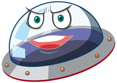 Ufo with angry face expression on white background illustration