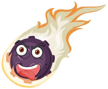 Flame meteor cartoon character with angry face expression on white background illustration