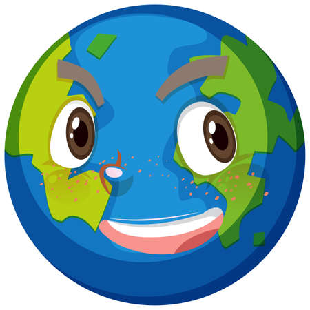 Earth cartoon character with happy face expression on white background illustration