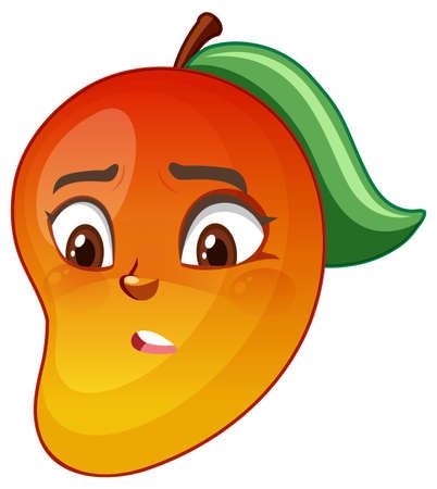 Mango cartoon character with facial expression illustration