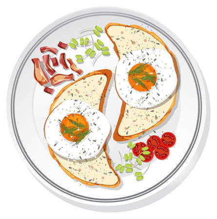 Top view of breakfast set on a dish isolated illustration