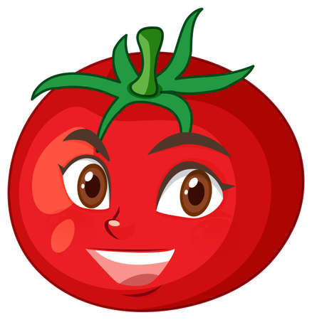 Tomato cartoon character with happy face expression on white background illustration