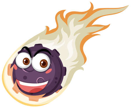 Flame meteor cartoon character with happy face expression on white background illustration Ilustración de vector