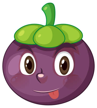 Mangosteen cartoon character with facial expression illustration