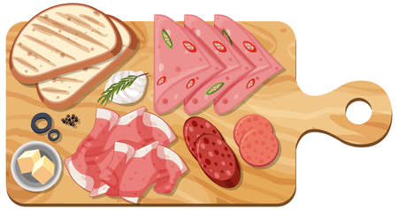 Top view of sliced meat set on a cutting board isolated illustration