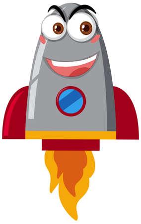 Rocketship cartoon with happy face on white background illustration Ilustrace