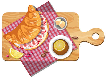 Top view of croissant sandwiches and tea cup on a cutting board illustration