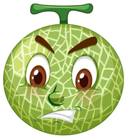 Cantaloupe melon cartoon character with facial expression illustration