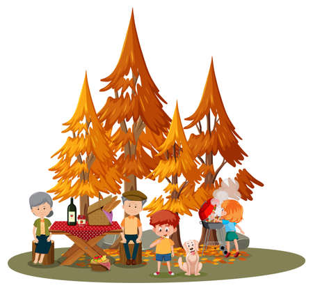 Old couple doing picnic in with many children in the park isolated illustration Ilustrace