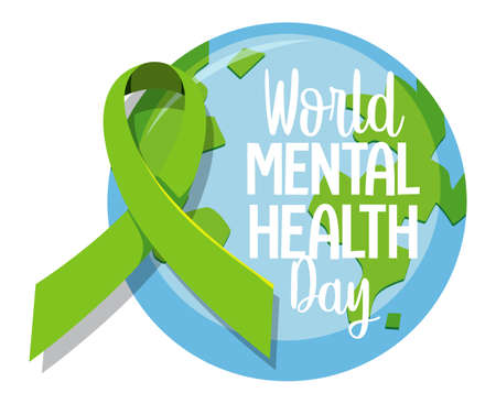 World Mental Health Day banner or logo isolated on white background illustration Ilustrace