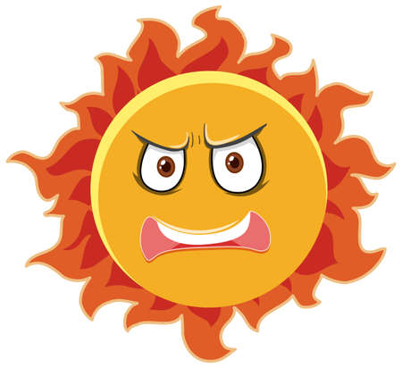 Sun cartoon character with angry face expression on white background illustration