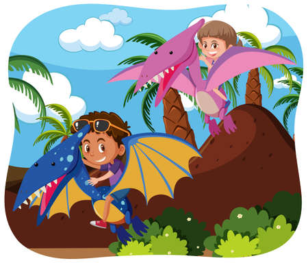 Happy kids with animals in nature background illustration