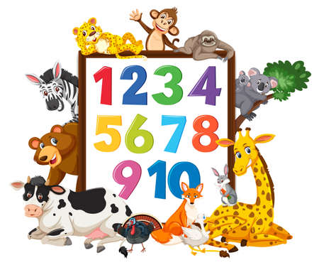 Number 0 to 9 on banner with wild animals illustration