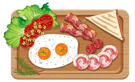 Top view of breakfast set in a cutting board isolated illustration
