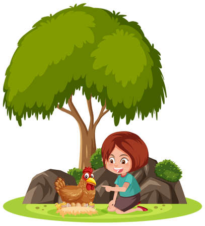 Isolated scene with a girl playing with a chicken illustration