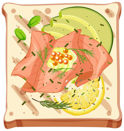 Top view of a bread with smoked salmon illustration
