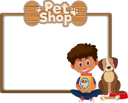 Blank banners with kid and cute dog and pet shop logo isolated on white background illustration