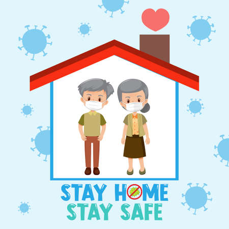 Stay home stay safe font with elderly couple illustration